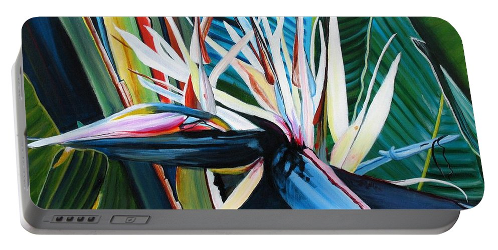 Bird Portable Battery Charger featuring the painting Giant Bird Of Paradise by Marionette Taboniar