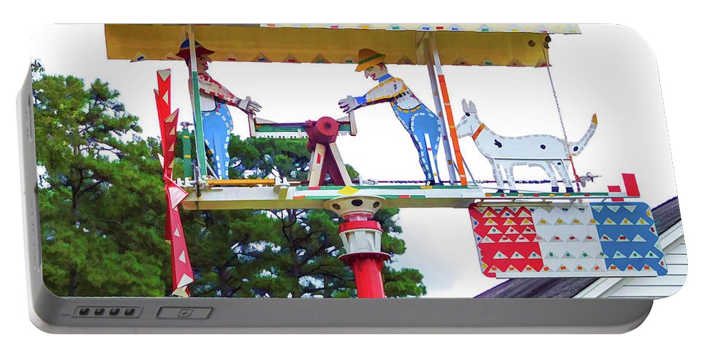 Giant Folk-art Weathervane Portable Battery Charger featuring the painting Giant Folk-art Weathervane 2 by Jeelan Clark
