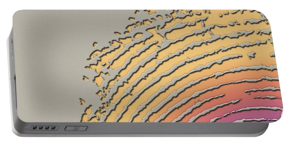 Inconsequential Beauty By Serge Averbukh Portable Battery Charger featuring the photograph Giant Iridescent Fingerprint on Beige by Serge Averbukh