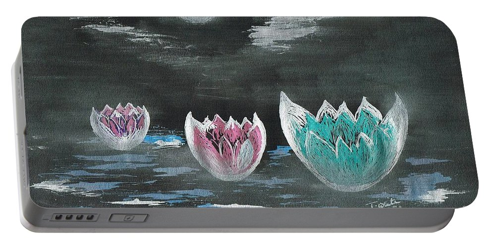 Teresa White Portable Battery Charger featuring the drawing Giant Lilies Upon Misty Waters by Teresa White