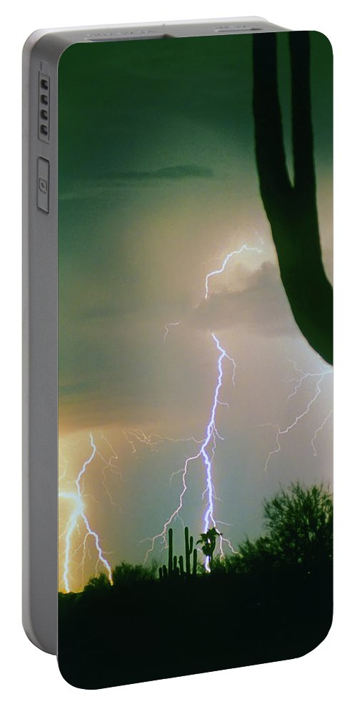Lightning Portable Battery Charger featuring the photograph Giant Saguaro Cactus Lightning Storm by James BO Insogna