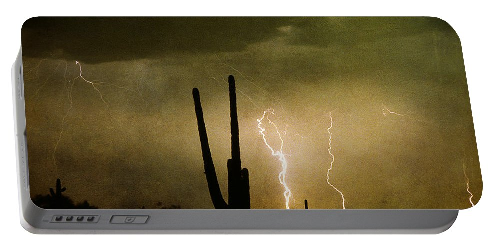 Lightning Portable Battery Charger featuring the photograph Giant Saguaro Southwest Lightning Peace Out by James BO Insogna