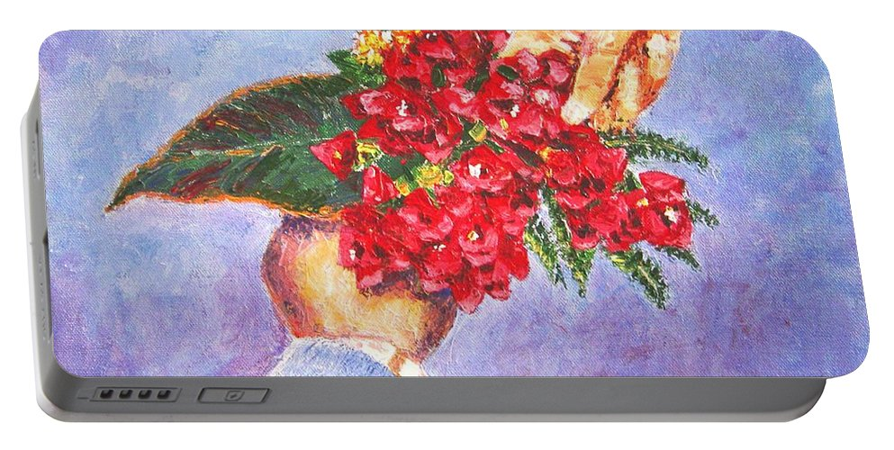 Gift Portable Battery Charger featuring the painting Gift A Bouquet - Bougenvillea by Usha Shantharam