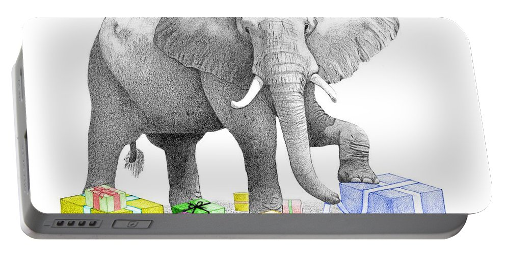 Elephant Portable Battery Charger featuring the drawing Gift Wrapping Elephant by Selinda Van Horn