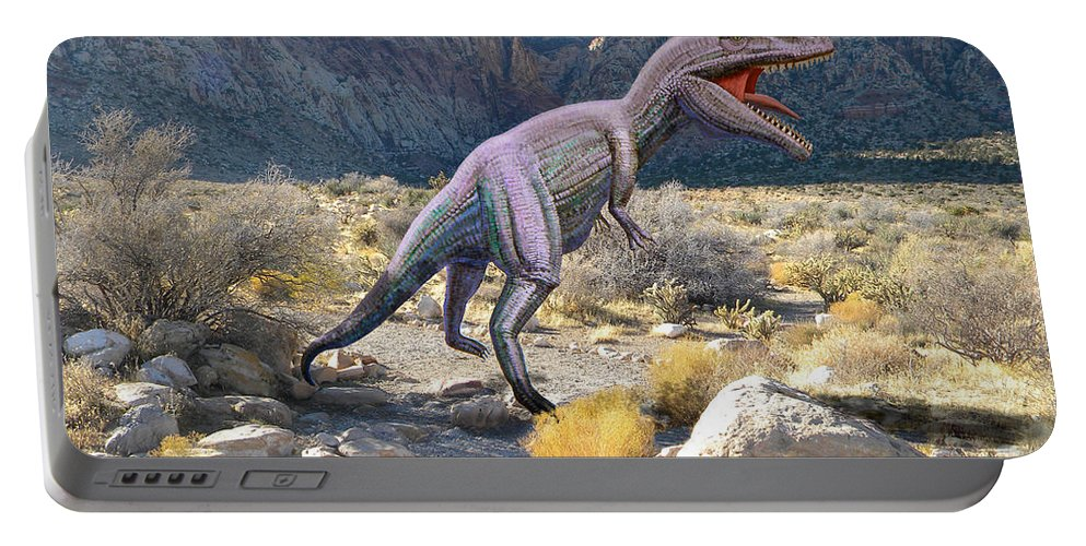Dinosaur Art Portable Battery Charger featuring the mixed media Gigantosaurus In The Desert by Frank Wilson