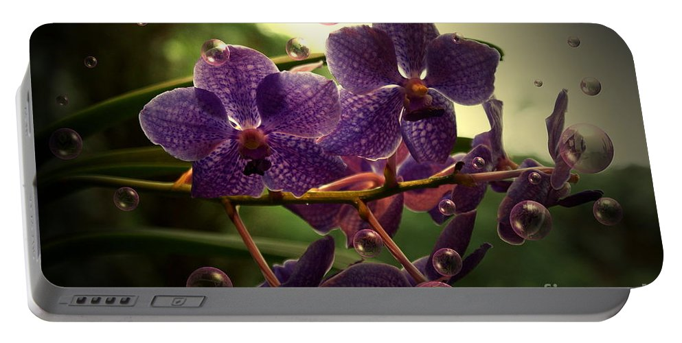 Orchid Bubbles Floral Portable Battery Charger featuring the photograph Giggles by Joanne Smoley