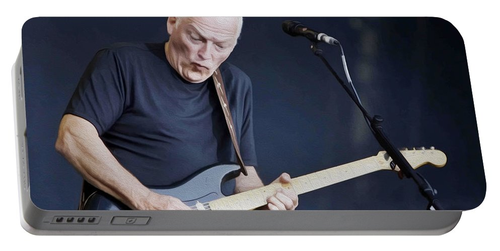 David Gilmour Portable Battery Charger featuring the painting Gilmour #003 By Nixo by Never Say Never