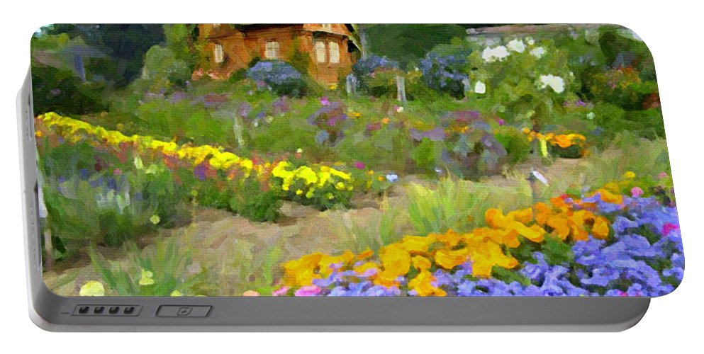 Flowers Portable Battery Charger featuring the digital art Ginger Cottage by David Zimmerman