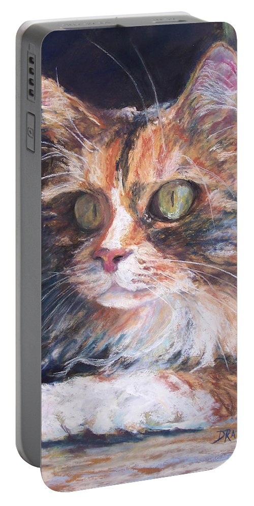 Original Pastel Portable Battery Charger featuring the pastel Ginger - Ly by Alicia Drakiotes