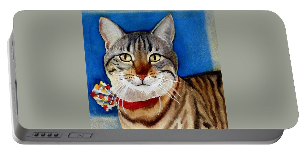 Cat Portable Battery Charger featuring the painting Ginger by Marilyn Jacobson