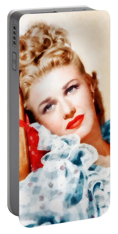 Hollywood Portable Battery Charger featuring the painting Ginger Rogers By John Springfield by John Springfield