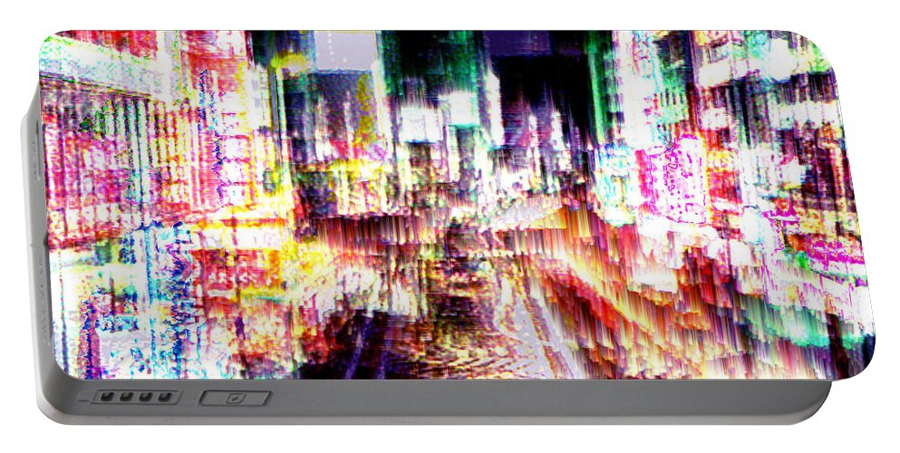 Tokyo Portable Battery Charger featuring the digital art Ginsa Glitz by Seth Weaver