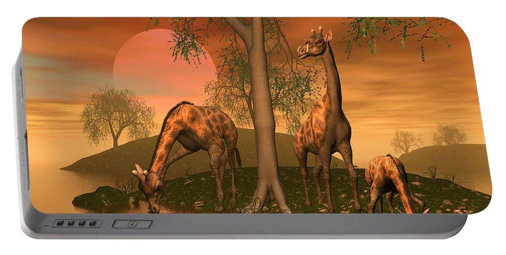 Animals Portable Battery Charger featuring the digital art Giraffe Family By John Junek by John Junek