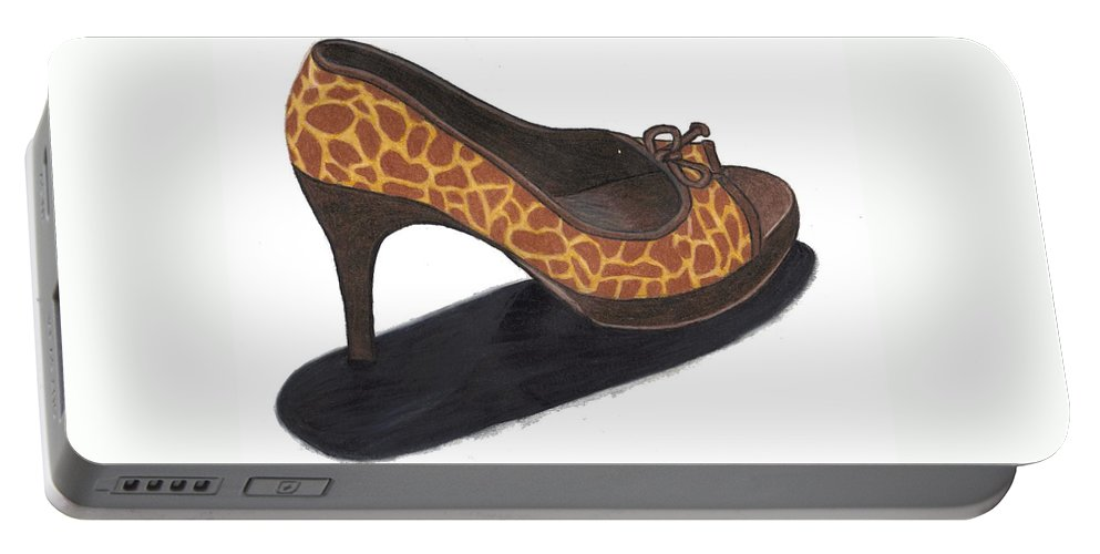 Shoe Portable Battery Charger featuring the drawing Giraffe Heels by Jean Haynes