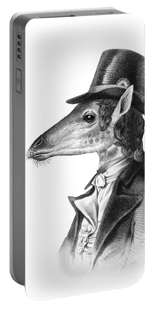 Giraffe Portable Battery Charger featuring the digital art Giraffe In A Smoking Jacket With Top Hat by Madame Memento