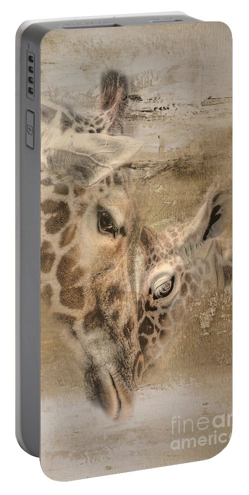 Imia Design Portable Battery Charger featuring the digital art Giraffes, Big And Small by Maria Astedt
