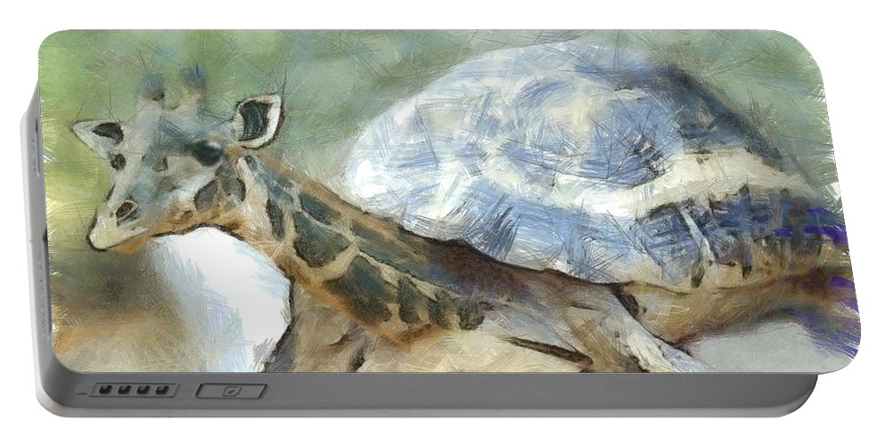 Animal Portable Battery Charger featuring the painting Giraturtle by Leonardo Digenio