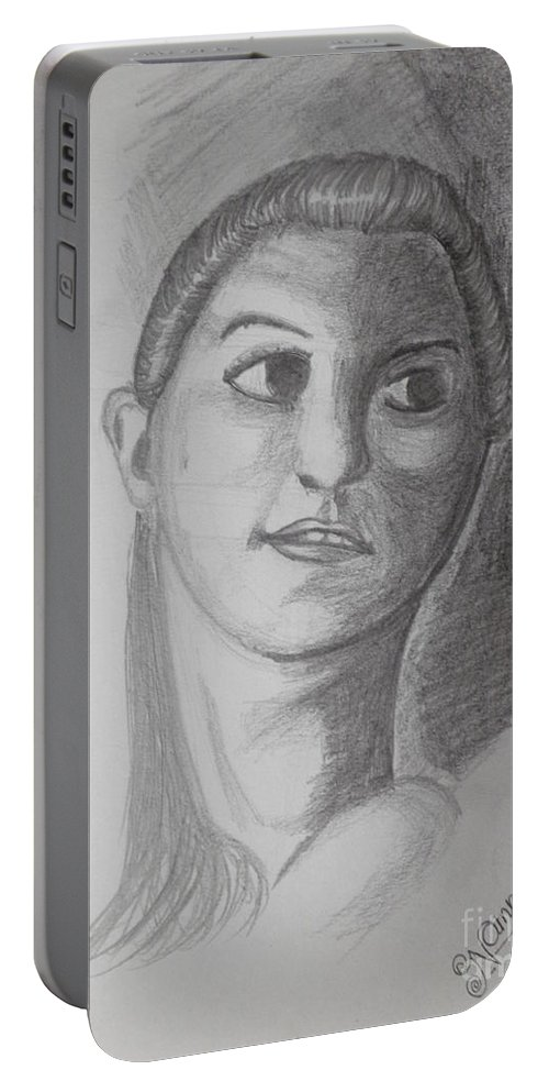 Portrait Portable Battery Charger featuring the drawing Girl by Artist Nandika Dutt