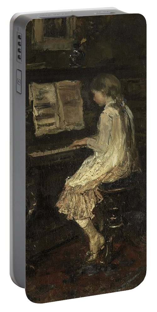 Girl At The Piano Portable Battery Charger featuring the painting Girl At The Piano by Jacob Maris