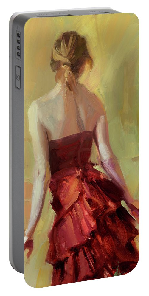 Girl Portable Battery Charger featuring the painting Girl In A Copper Dress I by Steve Henderson