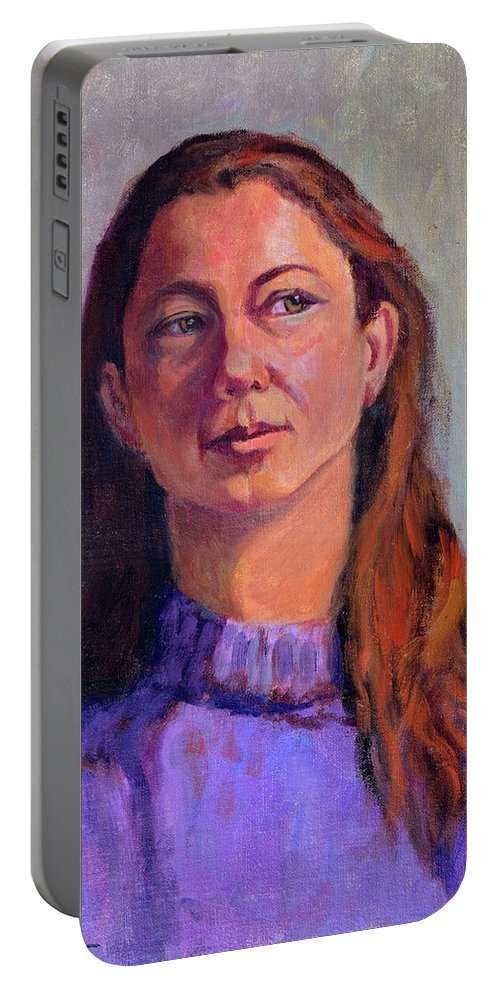 Portrait Portable Battery Charger featuring the painting Girl In Purple by Keith Burgess