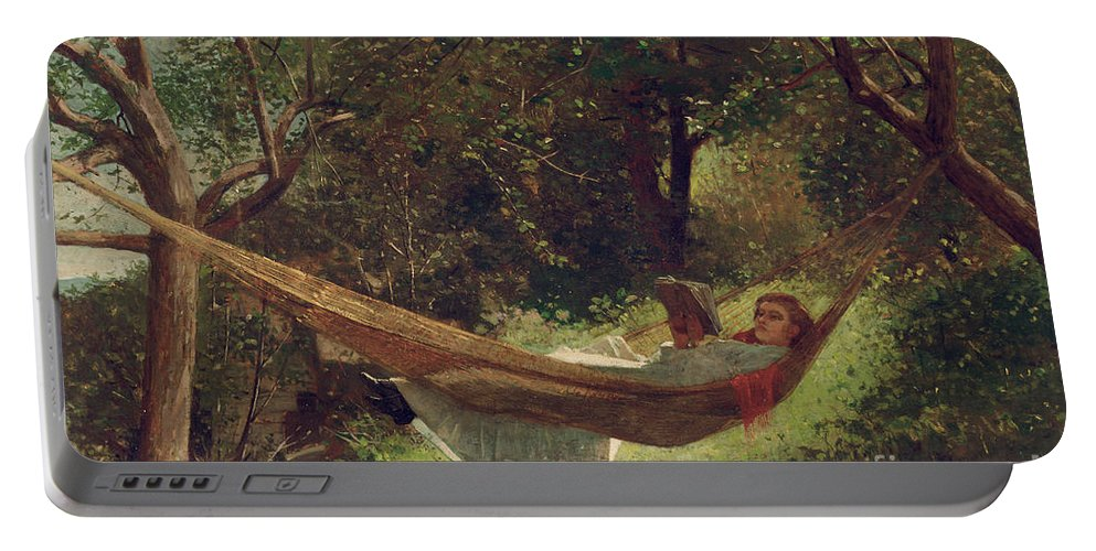 Girl In The Hammock Portable Battery Charger featuring the painting Girl In The Hammock by Winslow Homer
