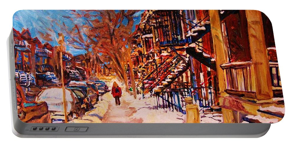 Children Portable Battery Charger featuring the painting Girl In The Red Jacket by Carole Spandau