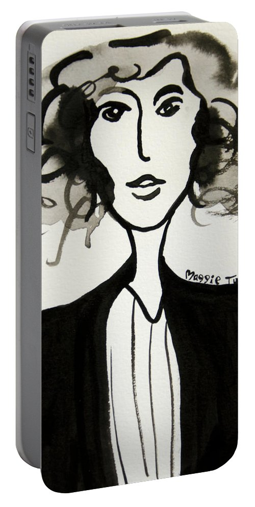 Girl Portable Battery Charger featuring the painting Girl In Vest by Maggie Turner