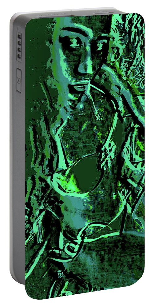 Green Portable Battery Charger featuring the digital art Girl Of Green by Kenny Primmer