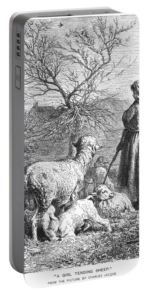 19th Century Portable Battery Charger featuring the photograph Girl Tending Sheep by Granger