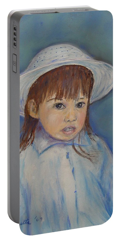 Girl Portable Battery Charger featuring the painting Girl With A Hat by Loretta Luglio