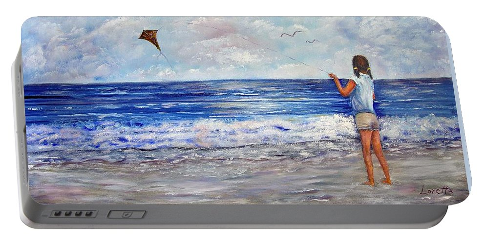 Kite Portable Battery Charger featuring the painting Girl With A Kite by Loretta Luglio
