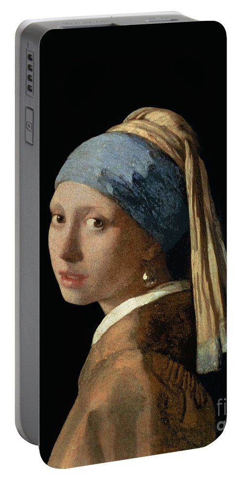Jan Vermeer Portable Battery Charger featuring the painting Girl With A Pearl Earring by Jan Vermeer