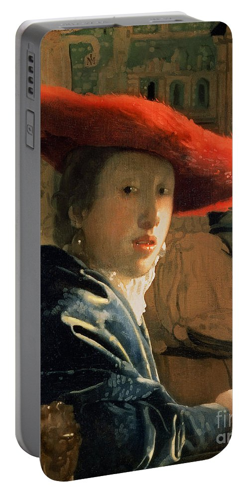 Vermeer Portable Battery Charger featuring the painting Girl With A Red Hat by Jan Vermeer