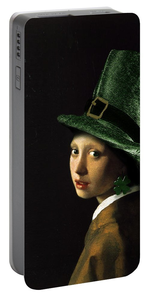 Vermeer Portable Battery Charger featuring the painting Girl With A Shamrock Earring by Gravityx9  Designs