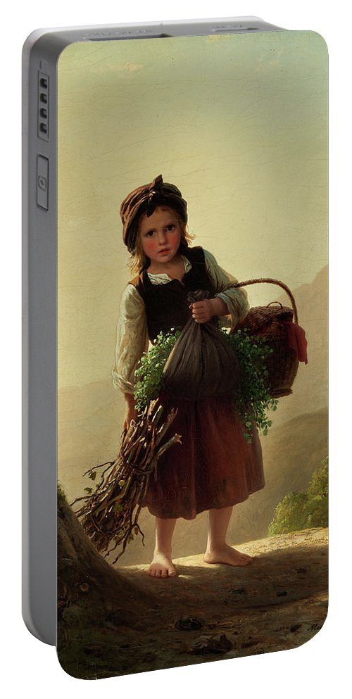 Children Portable Battery Charger featuring the painting Girl With Basket by Johann Georg Meyer von Bremen
