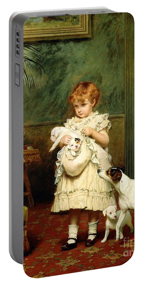 Girl With Dogs Portable Battery Charger featuring the painting Girl With Dogs by Charles Burton Barber