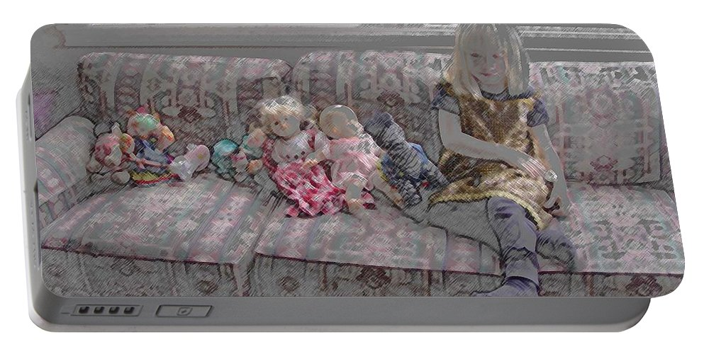 Girl Portable Battery Charger featuring the digital art Girl With Dolls by Ron Bissett