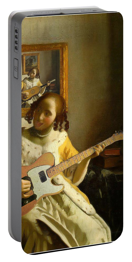 Vermeer Portable Battery Charger featuring the painting Girl With Guitar by Gravityx9 Designs