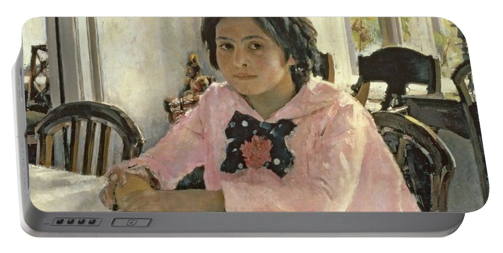 Girl Portable Battery Charger featuring the painting Girl With Peaches by Valentin Aleksandrovich Serov