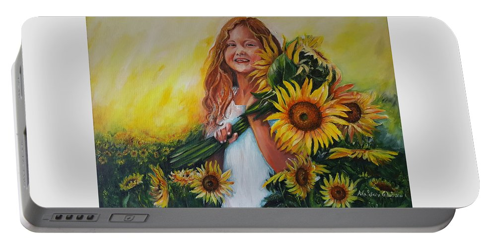 Art Portable Battery Charger featuring the painting Girl With Sunflowers by Rita Fetisov
