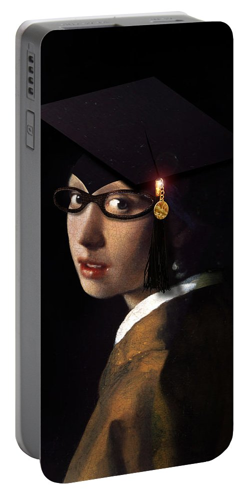 Vermeer Portable Battery Charger featuring the painting Girl With The Grad Cap by Gravityx9 Designs