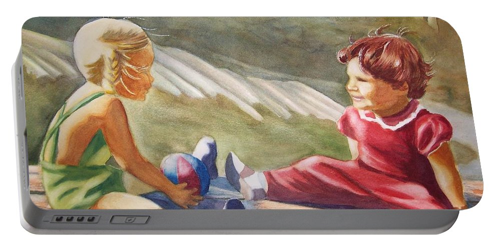 Girls Portable Battery Charger featuring the painting Girls Playing Ball by Marilyn Jacobson
