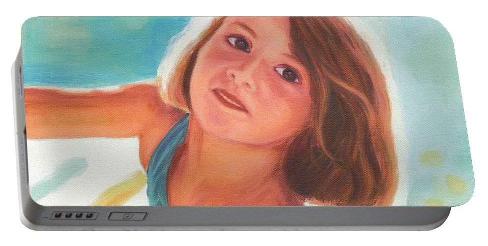 Girl Portable Battery Charger featuring the painting Girl's Portrait by Nicolas Nomicos