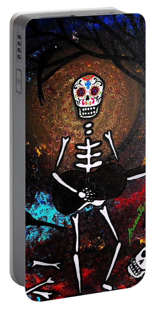 Dia Portable Battery Charger featuring the painting Gitarero by Pristine Cartera Turkus