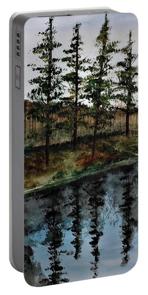 Landscape Portable Battery Charger featuring the painting Give Peace A Try by Lisa Aerts