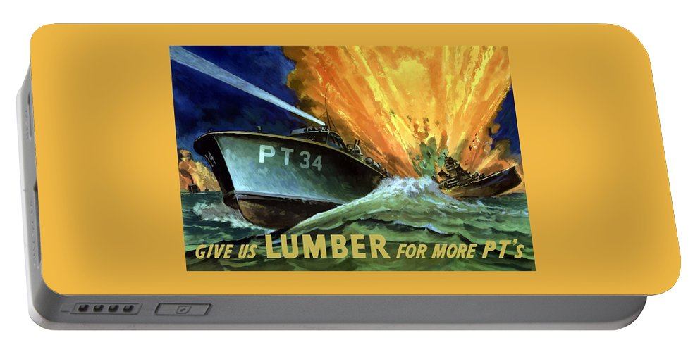 Pt Boat Portable Battery Charger featuring the painting Give Us Lumber For More Pt's by War Is Hell Store
