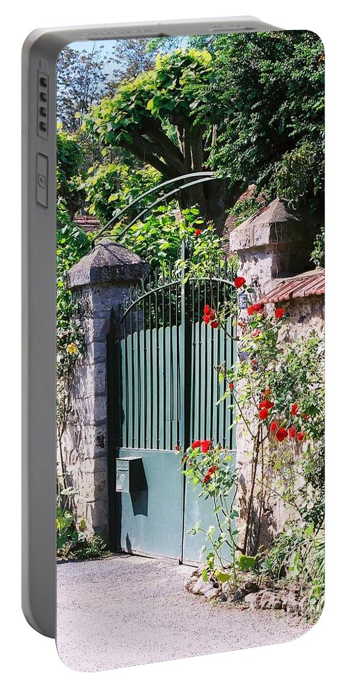 Giverny Portable Battery Charger featuring the photograph Giverny Gate by Nadine Rippelmeyer