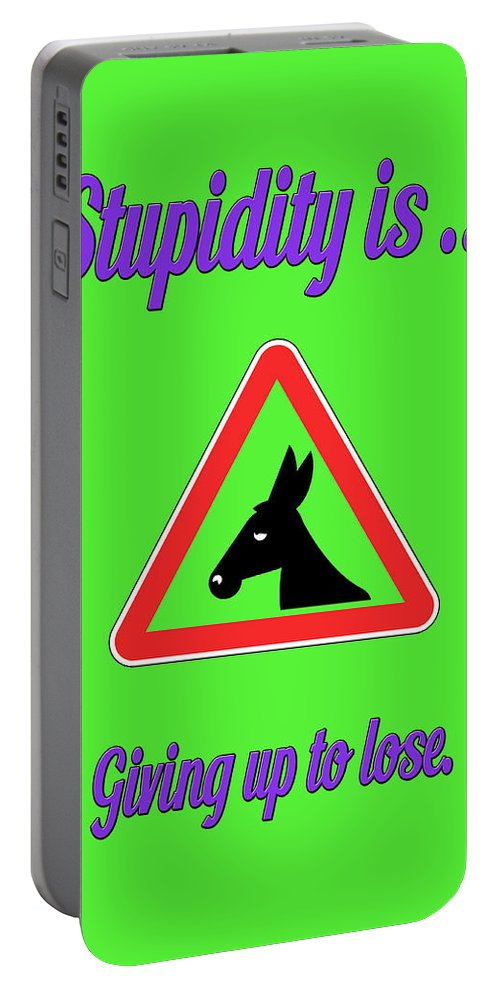 Funny Portable Battery Charger featuring the digital art Giving Up Bigstock Donkey 171252860 by Mitchell Watrous