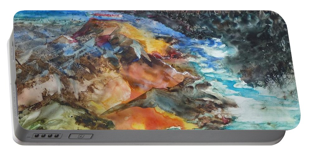 Abstract Portable Battery Charger featuring the painting Glacial Meltdown by Ruth Kamenev